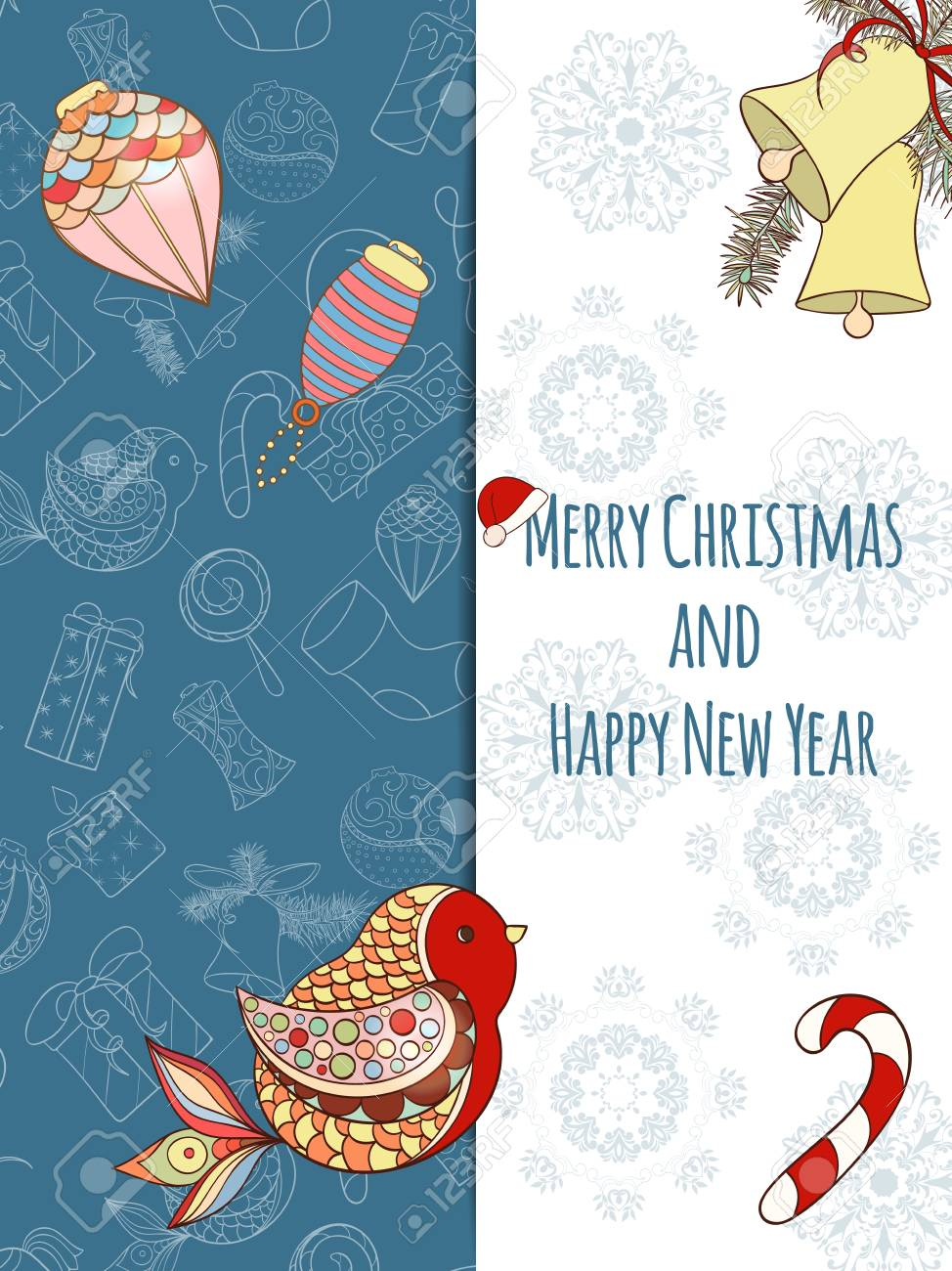 christmas and new year invitation card hand drawn vector illustration of ball bird
