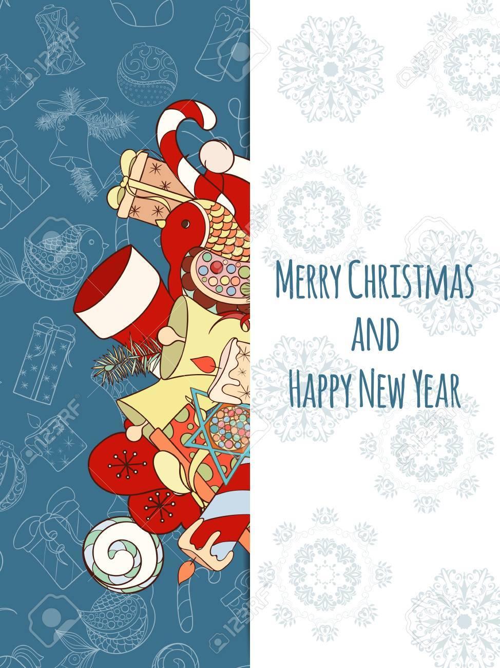 christmas and new year invitation card hand drawn vector illustration of ball bird