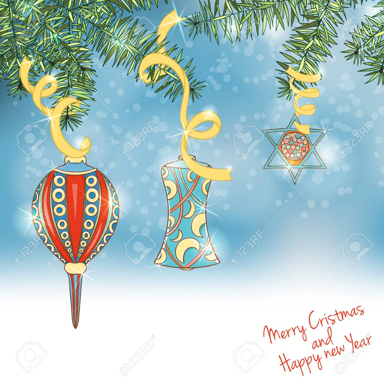 christmas and new year invitation card hand drawn vector illustration of ball on light background