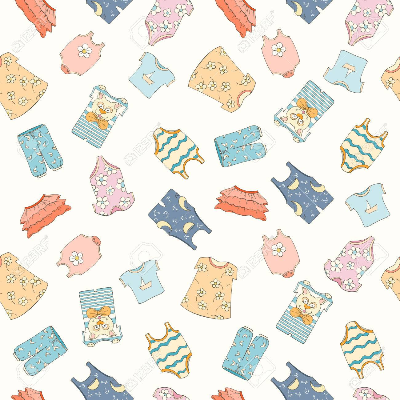 hand drawn seamless pattern of children clothes vector illustration