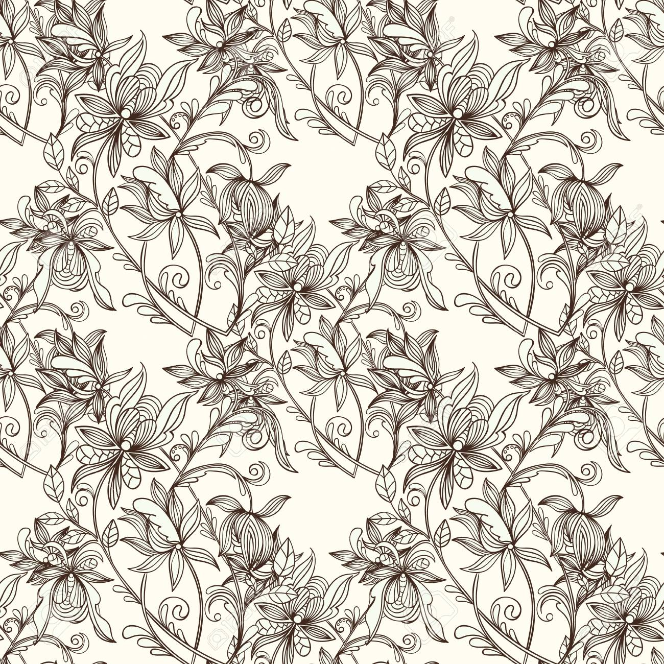 Hand Drawn Zentangle Style Vector Seamless Floral Pattern Sketch