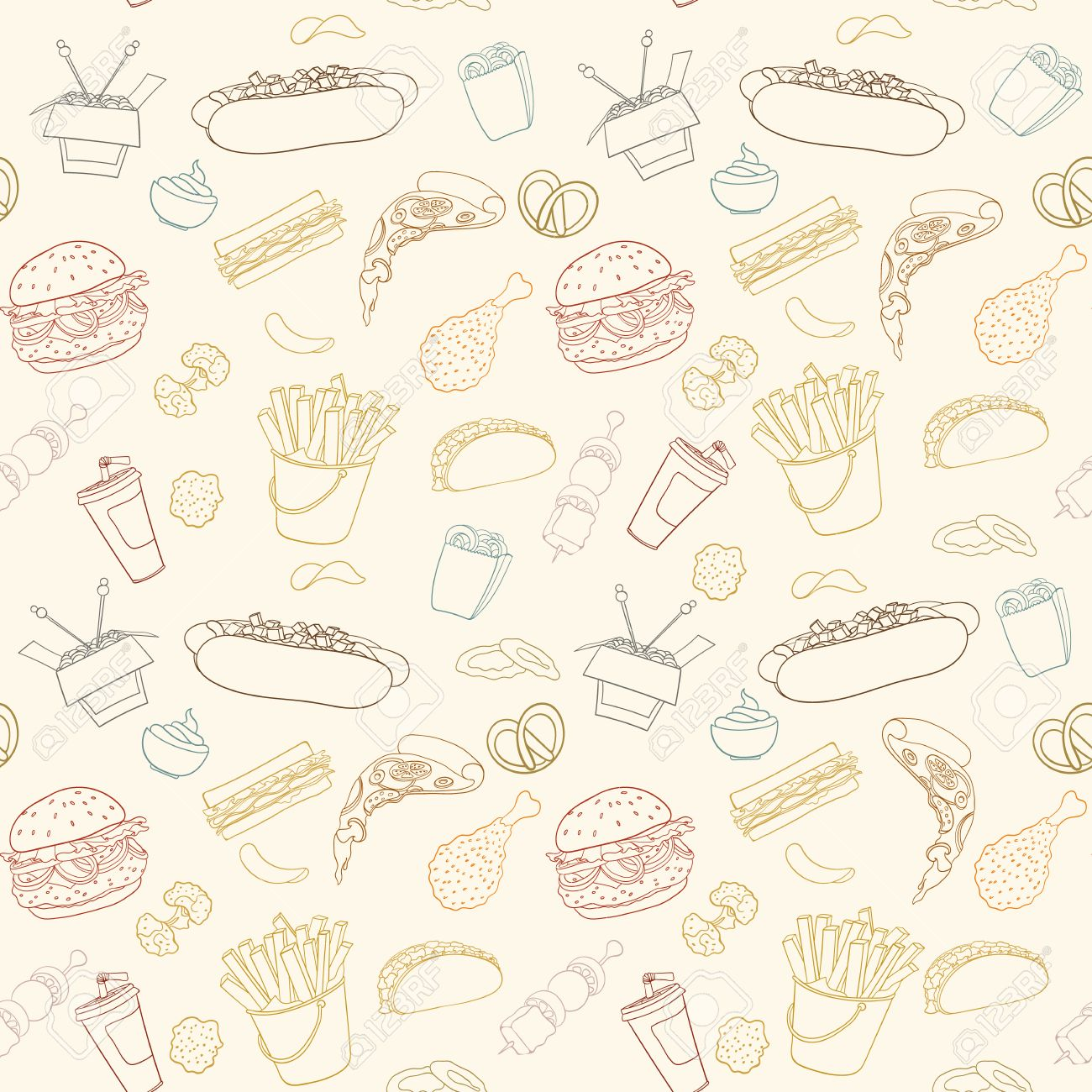 hand drawn vector seamless fast food pattern sketch doodle foodhand drawn vector seamless fast food pattern sketch doodle food elements can be used