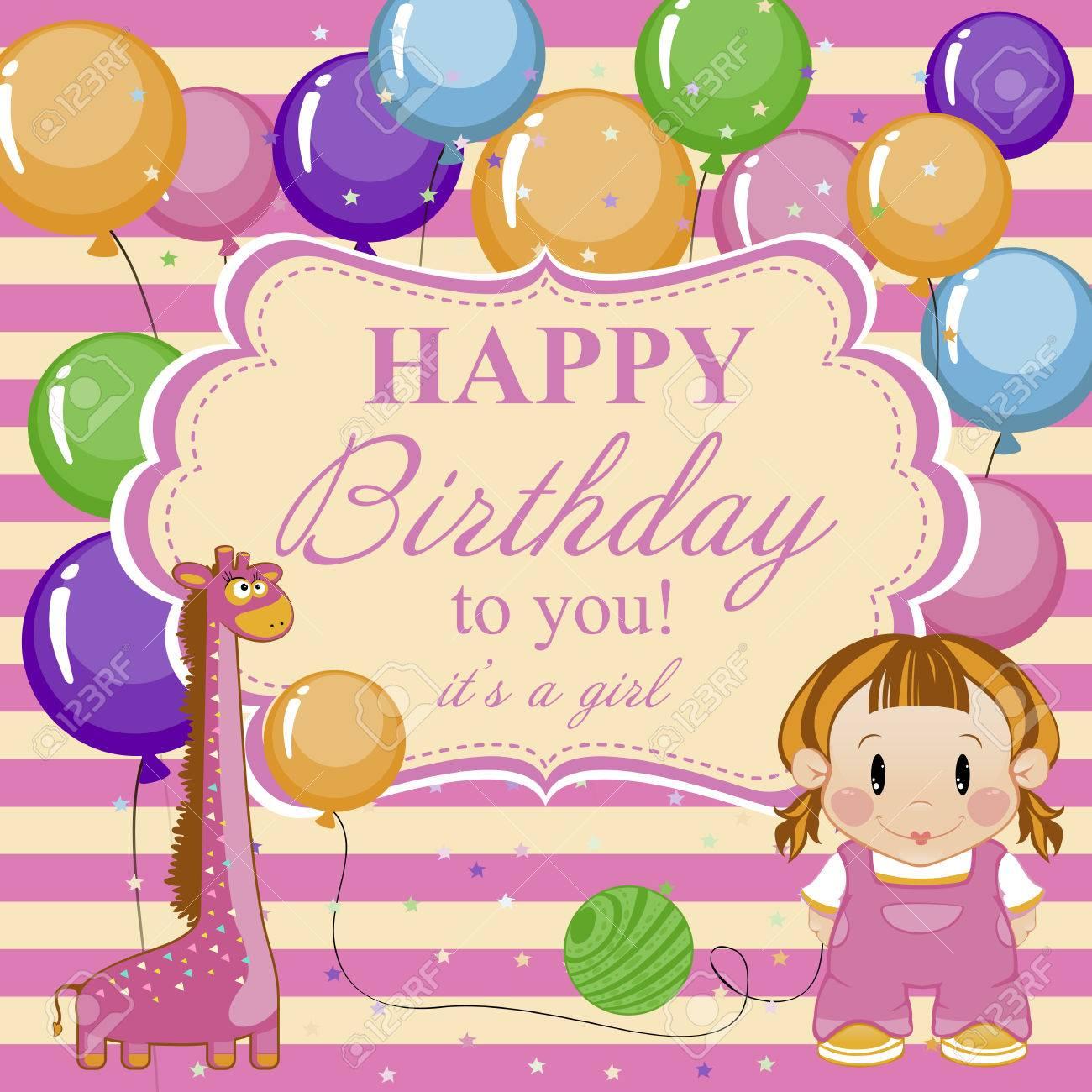 Kleines Lustiges Mädchen Mit Spielzeug Und Luftballons Grußkarte