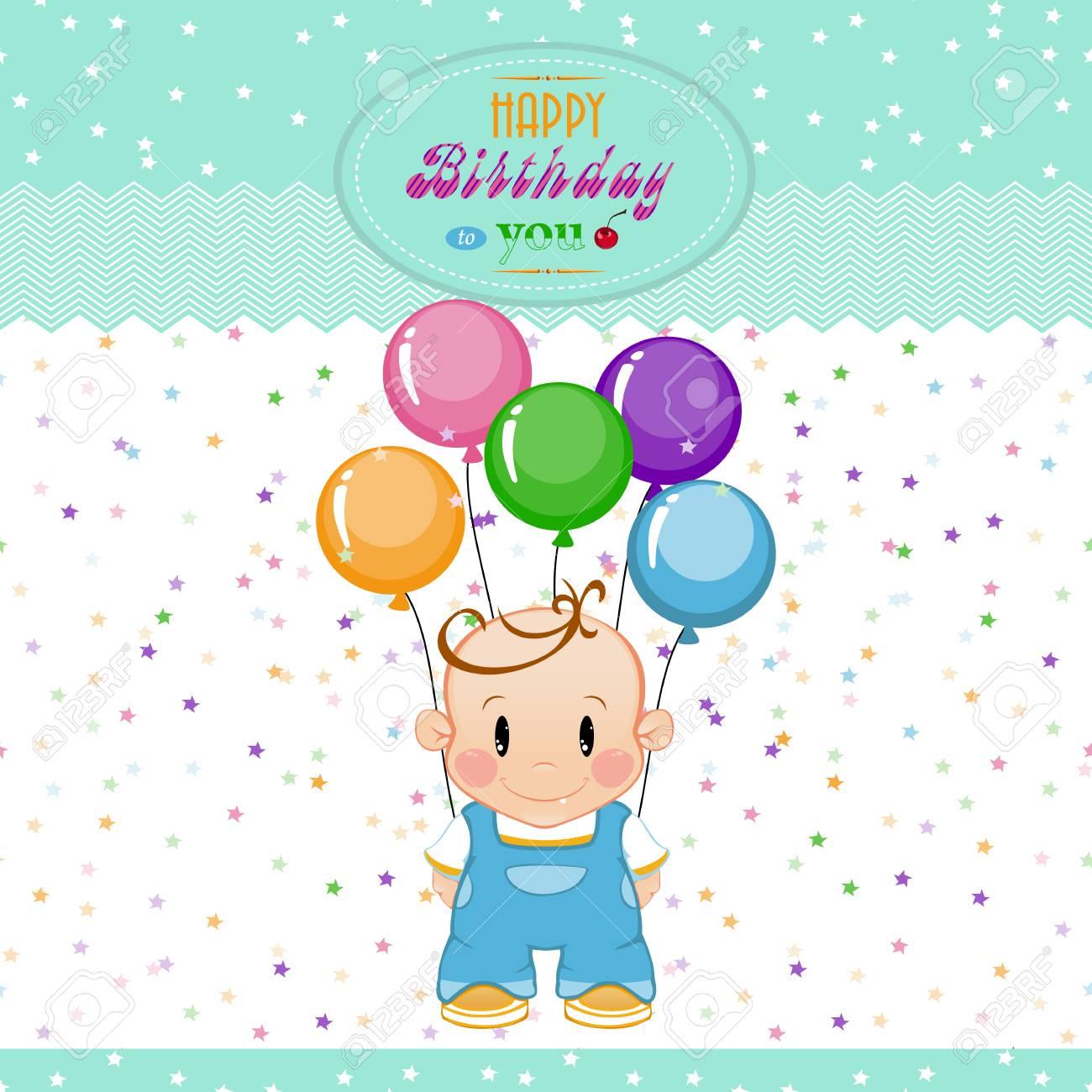 Een Kleine Jongen Met Opblaasbare Ballen En Sterren De Verjaardag