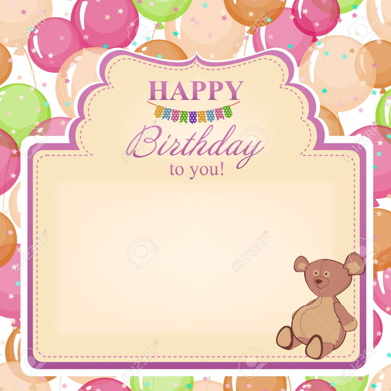 Childrens Congratulatory Background With A Birthday For Girls