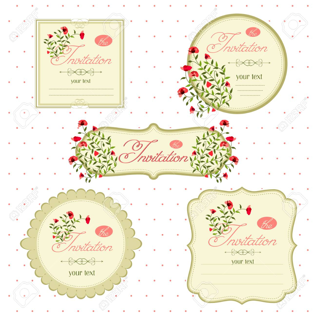 Floral Invitation Cards For An Event Vector Image Of Invitation