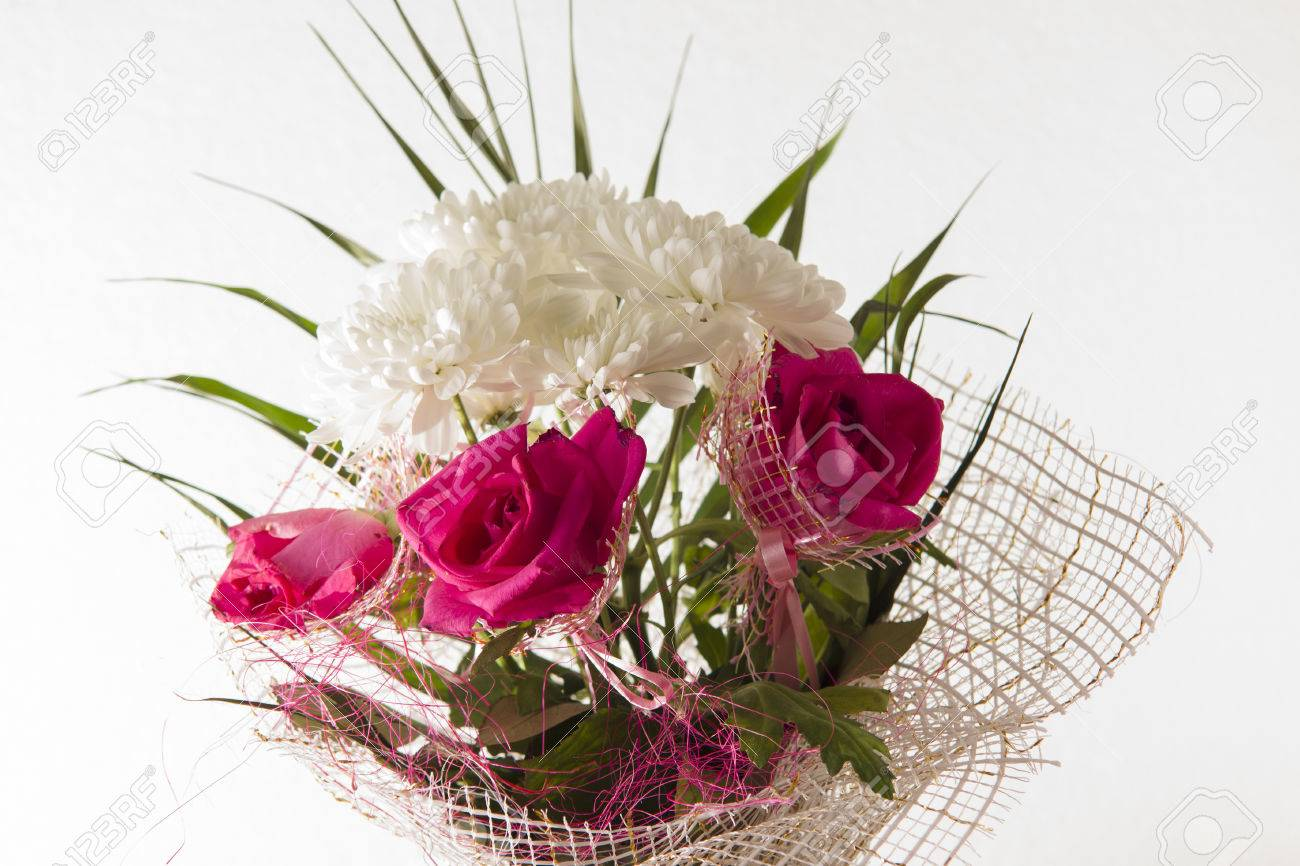 Bouquet Of Beautiful Bright Flowers On A White Background Stock
