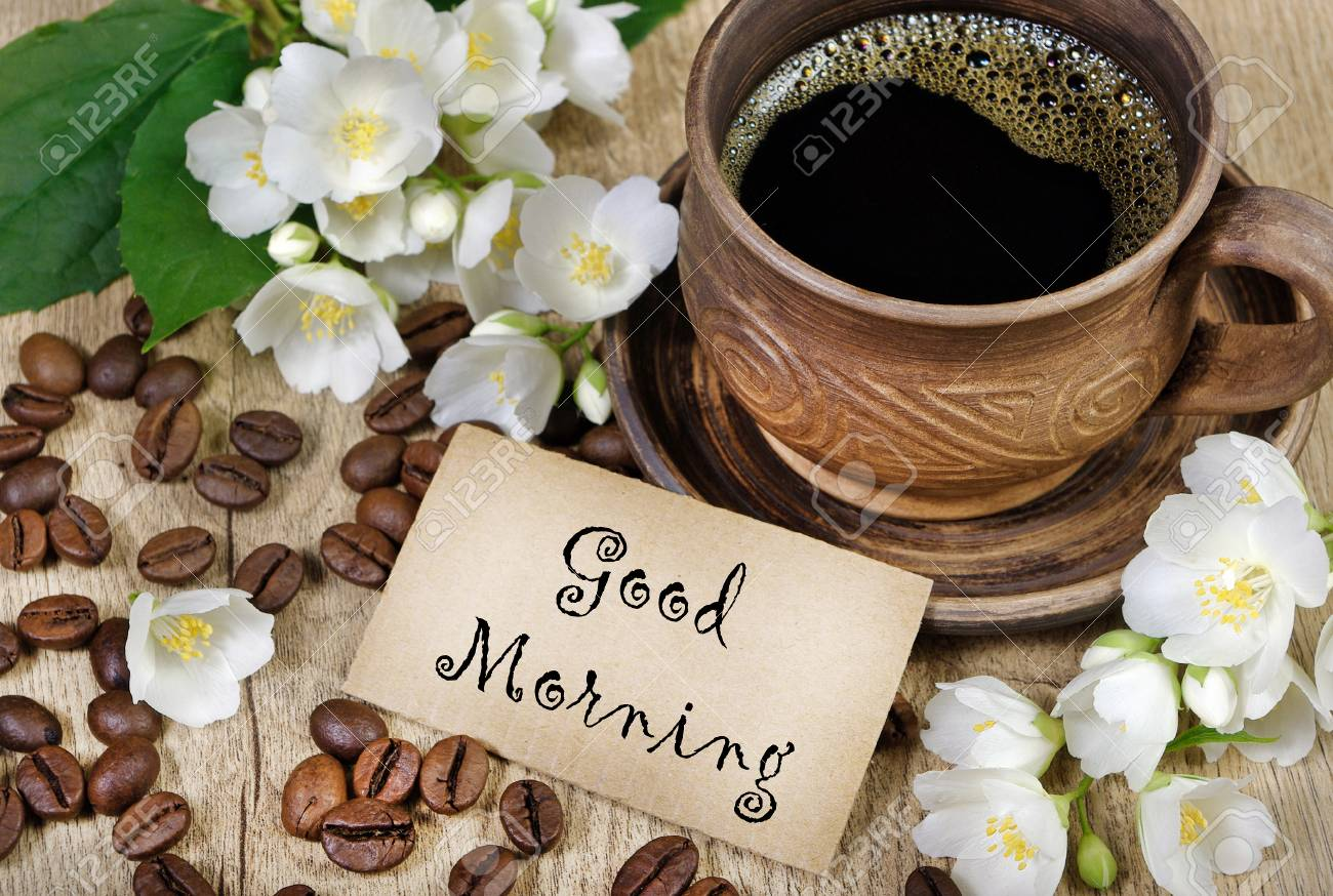 Good Morning. Morning Coffee And Jasmine Flowers On A Wooden.. Stock Photo,  Picture And Royalty Free Image. Image 101521670.