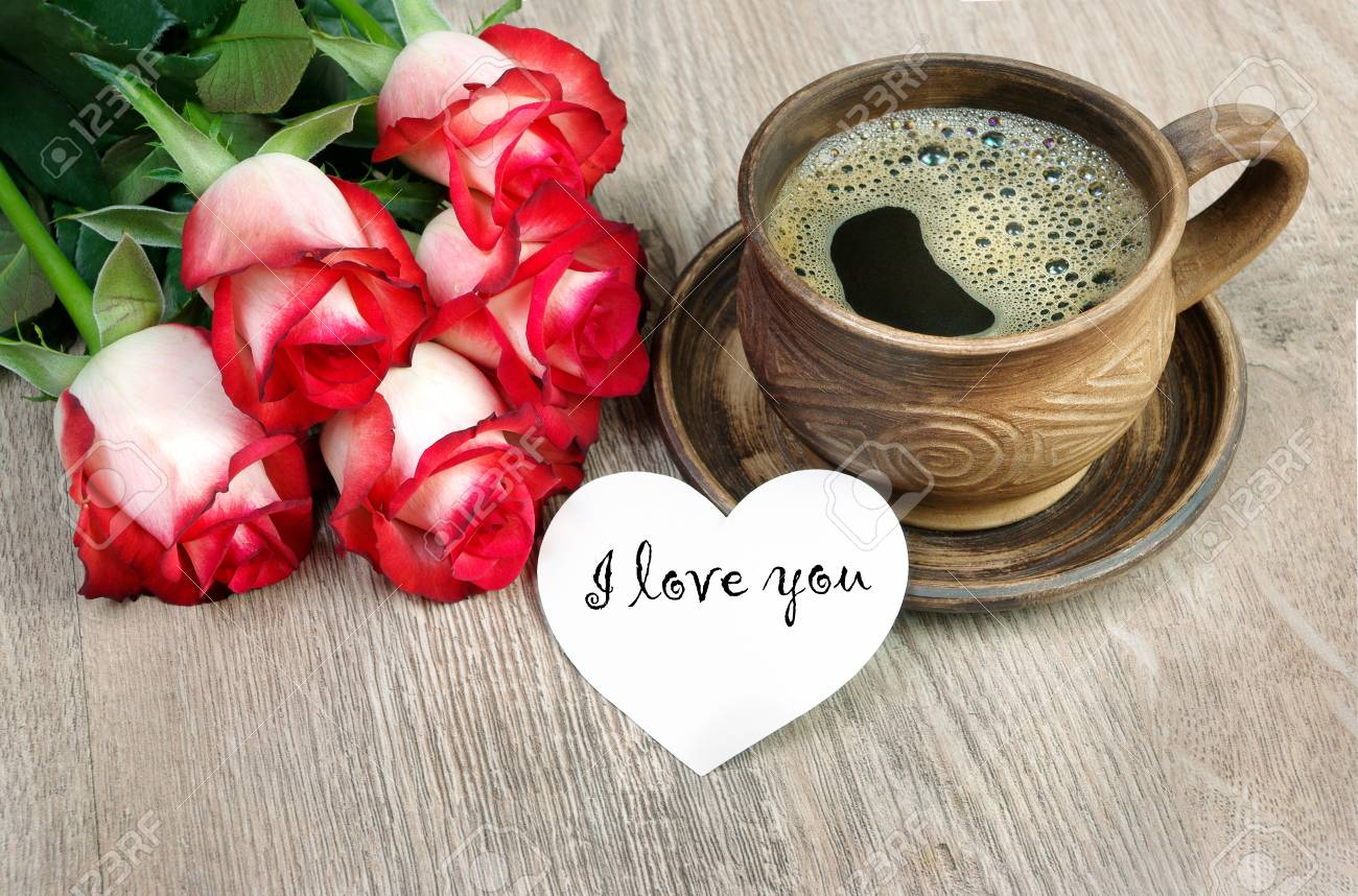 Good Morning Red Roses On A Wooden Table I Love You Stock Photo