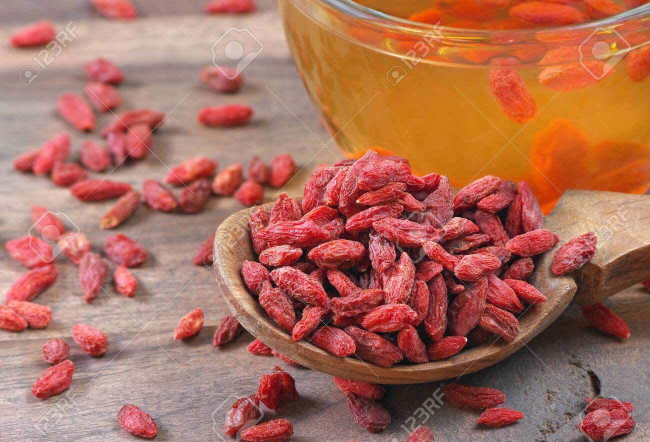 Goji Berries In A Wooden Spoon Close Up Goji Berries Tea Herbal