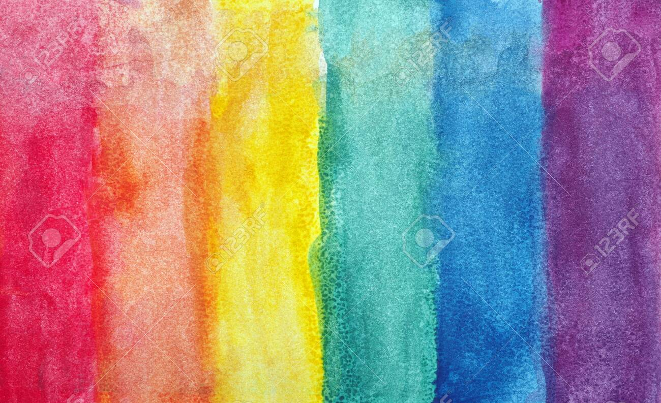 Colors of rainbow. Photo watercolor paper texture. Abstract watercolor background. Wet watercolor paper texture background. abstract colorful pattern. multicolored watercolor stains. - 142909224