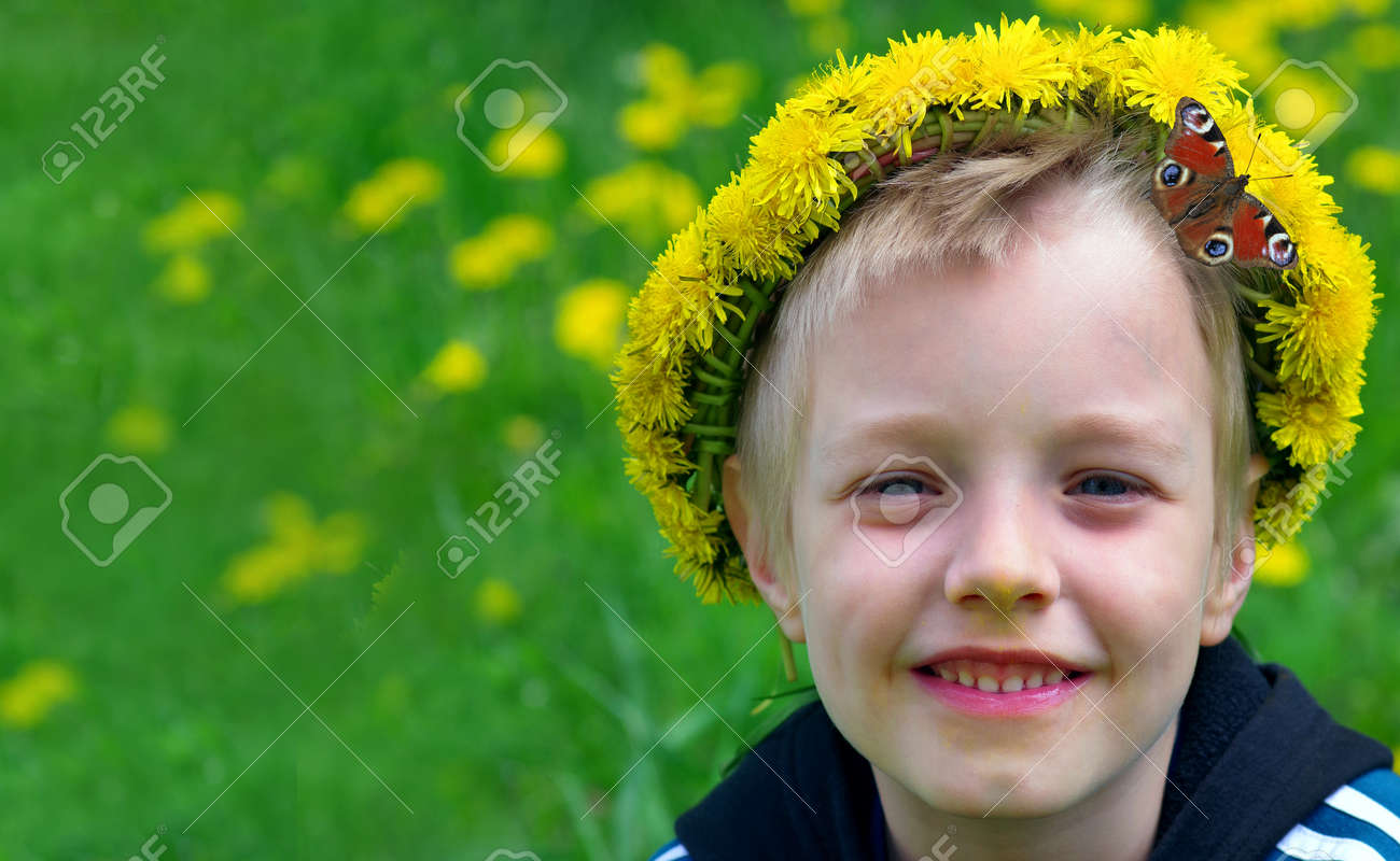 boy in a wreath of dandelions in a blooming meadow and bright red butterfly. summer concept. copy space - 169620132
