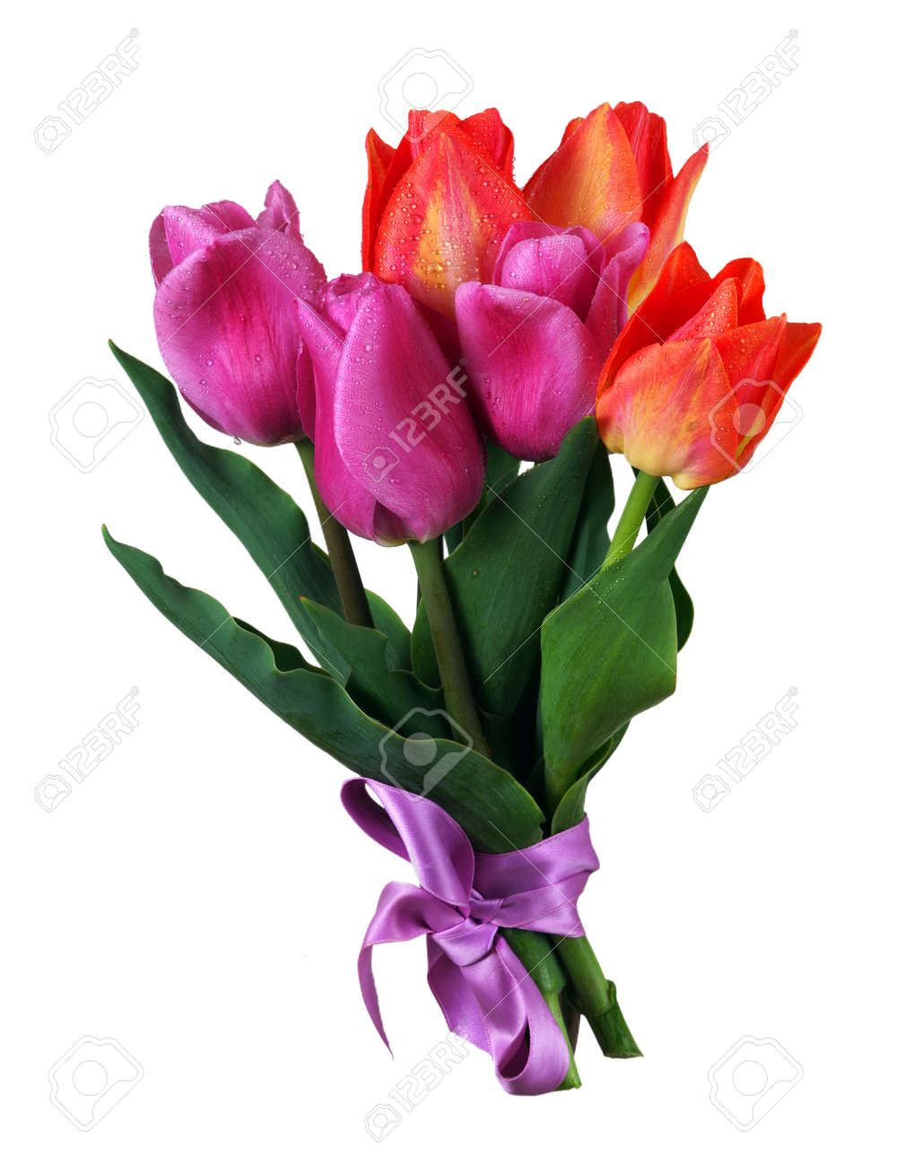 bright colorful bouquet of tulips isolated on white - 169620144