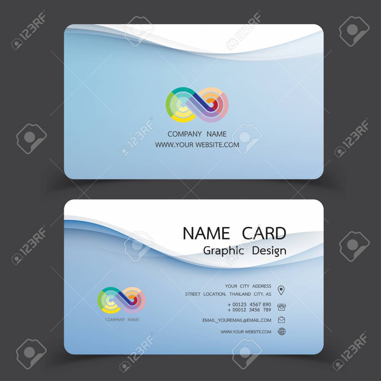 Business card design set modern creative business card template business card design set modern creative business card template vector illustrations stock vector reheart Images