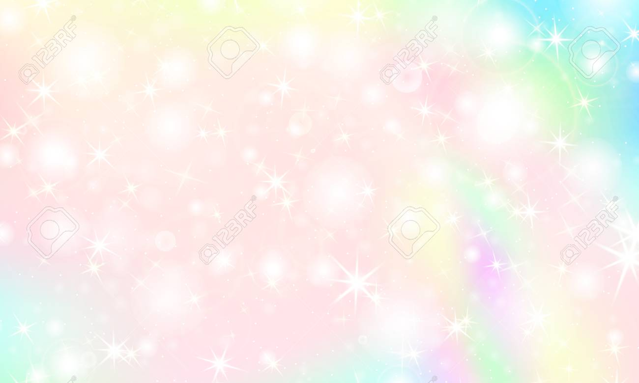 125053115 unicorn rainbow background kawaii colorful backdrop with rainbow mesh holographic sky in pastel colo