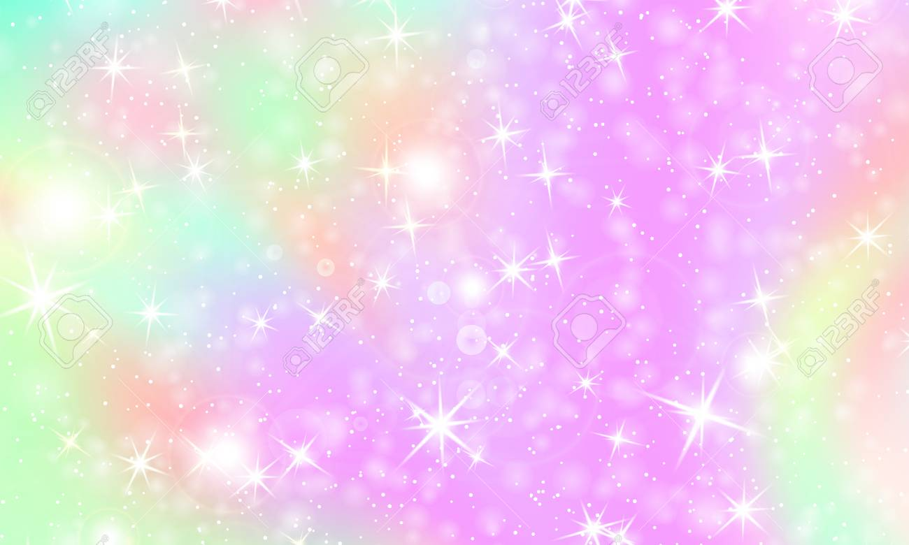 124960564 unicorn rainbow background kawaii colorful backdrop with rainbow mesh holographic sky in pastel colo