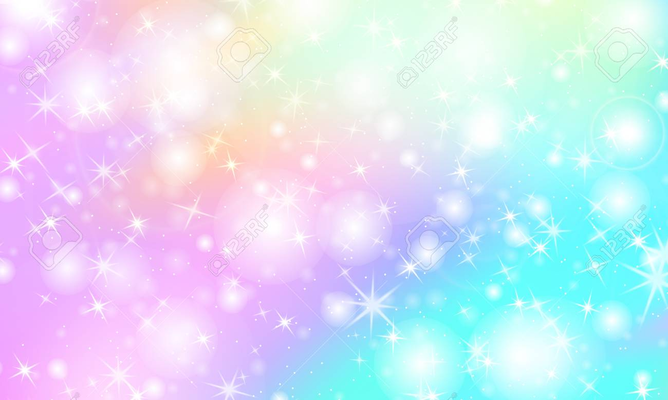 124960568 unicorn rainbow background kawaii colorful backdrop with rainbow mesh holographic sky in pastel colo