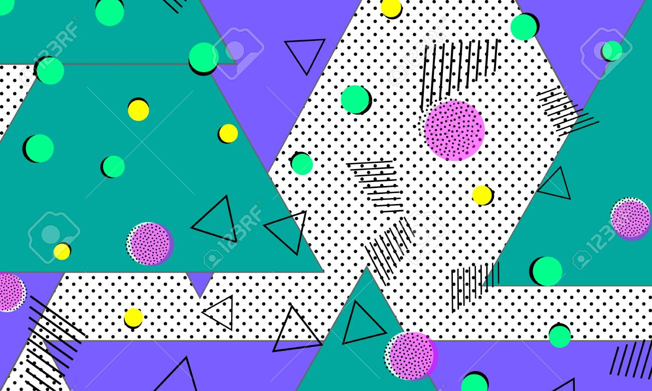90s pattern  Memphis trend  Nineties pattern  Pop art color background