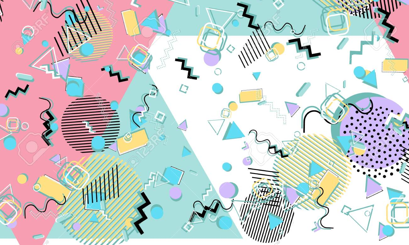 Memphis  90s pattern  Geometric shapes background  Vector Illustration