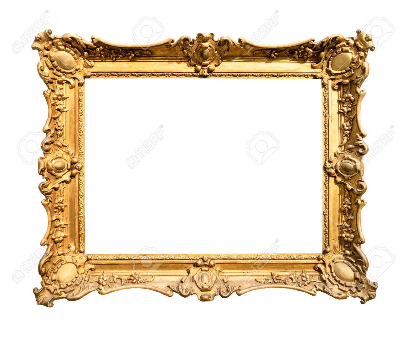 vintage wide decorated baroque painting frame painted in gold color cutout on white background - 129017713