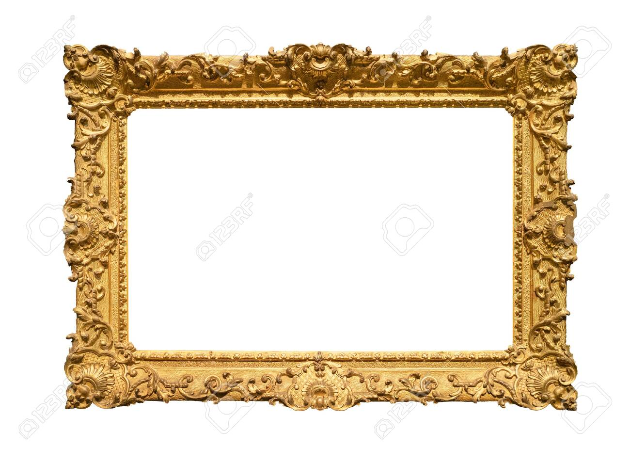 retro wide decorated baroque painting frame painted in gold color cutout on white background - 129018387