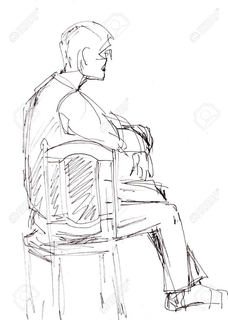 Instant sketch man sitting on chair stock photo 83437487