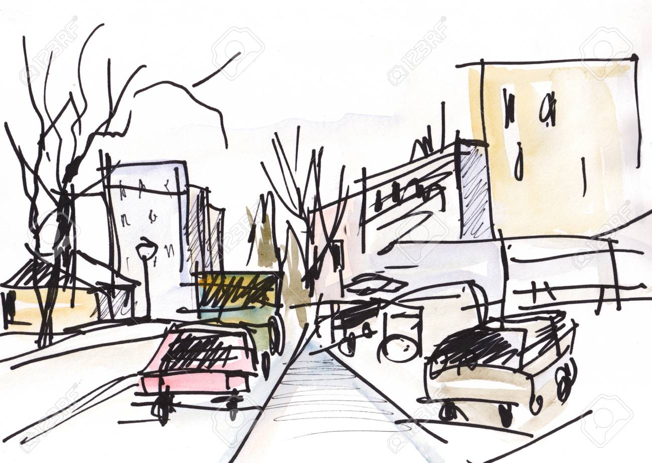 Instant Sketch, Delay On A Traffic Light, An Automobile Jam Stock ...