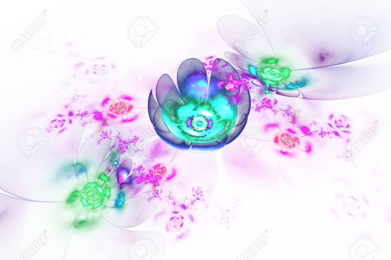 Abstract Colorful Blue Pink And Green Flowers On White Background