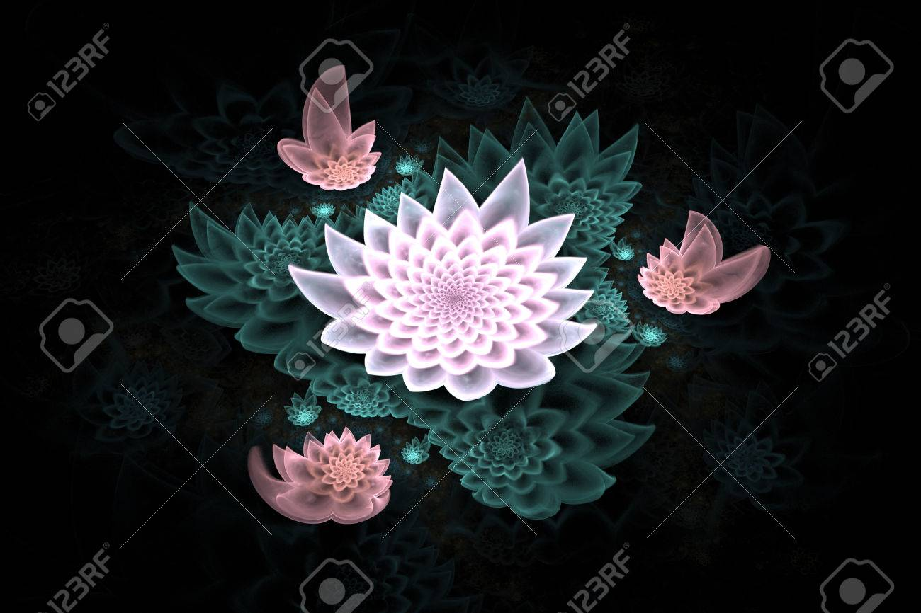 Abstract beautiful lotus flowers on black background fantasy abstract beautiful lotus flowers on black background fantasy fractal design for postcards or t izmirmasajfo Images