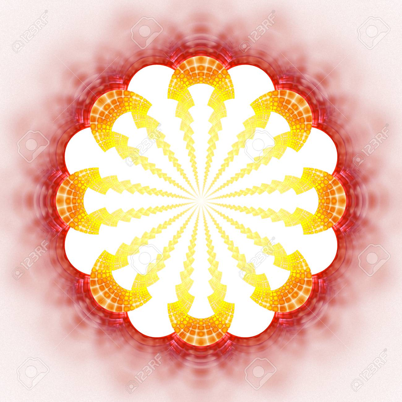 71c331bee Abstract flower mandala on white background. Symmetrical pattern in red,  orange and yellow colors