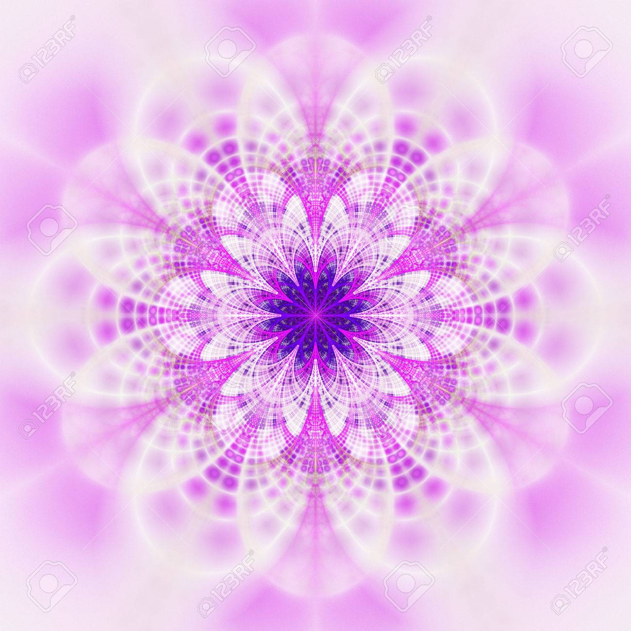 60599609 abstract flower mandala on white background symmetrical pattern in blue purple and pink colors fanta