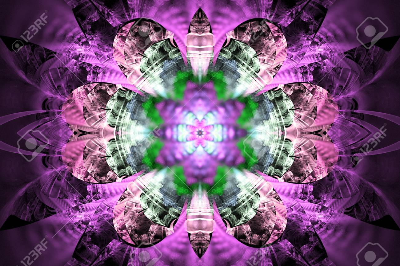 5239443f9 Abstract glowing flower mandala on black background. Symmetric pattern in  pink, purple and green