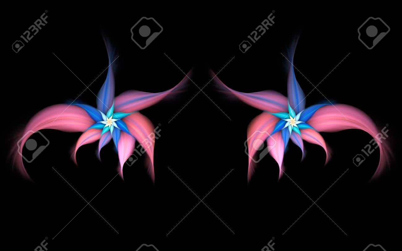 Fleurs Exotiques Abstraites Sur Fond Noir Motif Symetrique En Rose