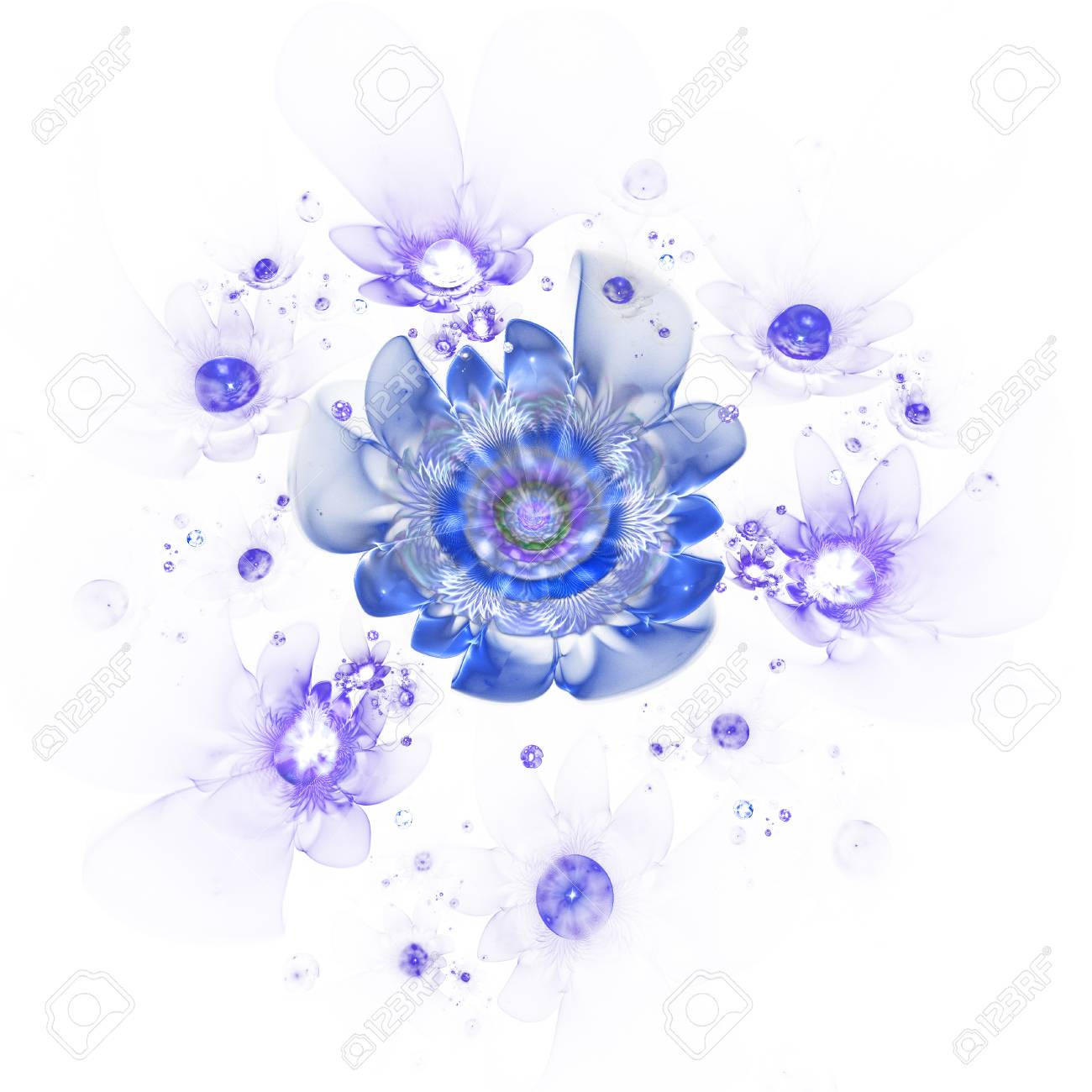 Abstract Colorful Blue Flowers On White Background Fantasy Fractal