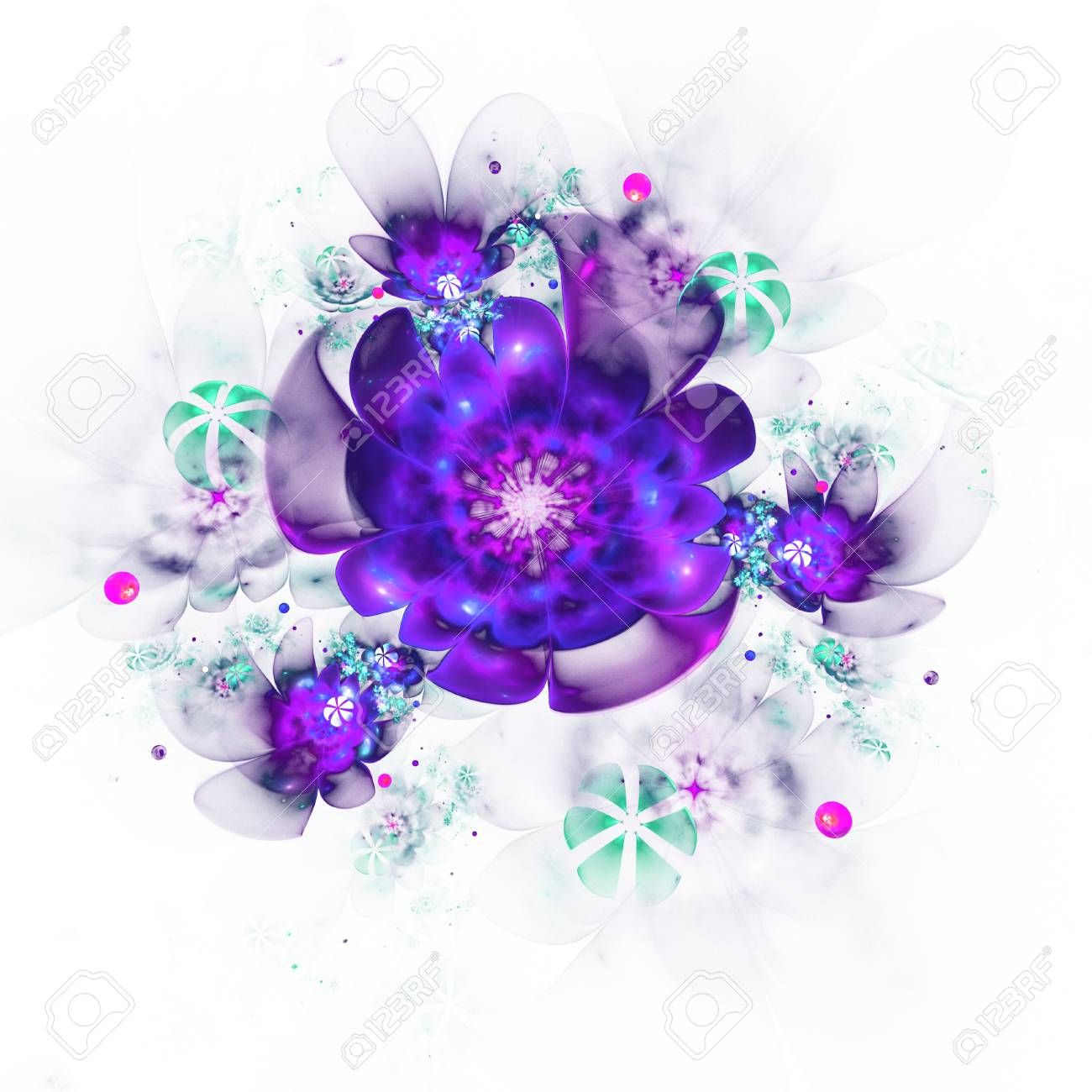 Abstract Colorful Pink Purple Green And Blue Flowers On White