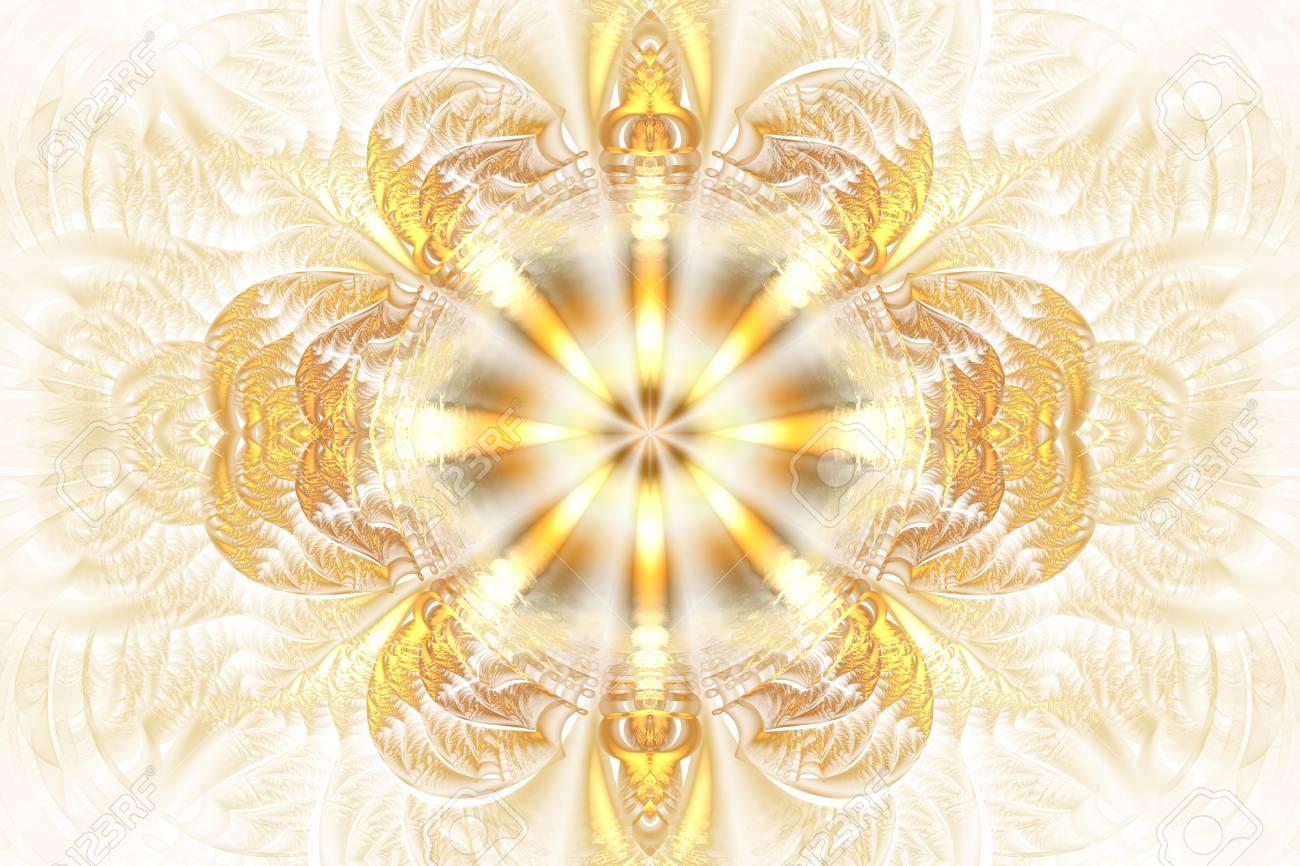 Mandala De Fleurs Abstraites Sur Fond Blanc Motif Symetrique