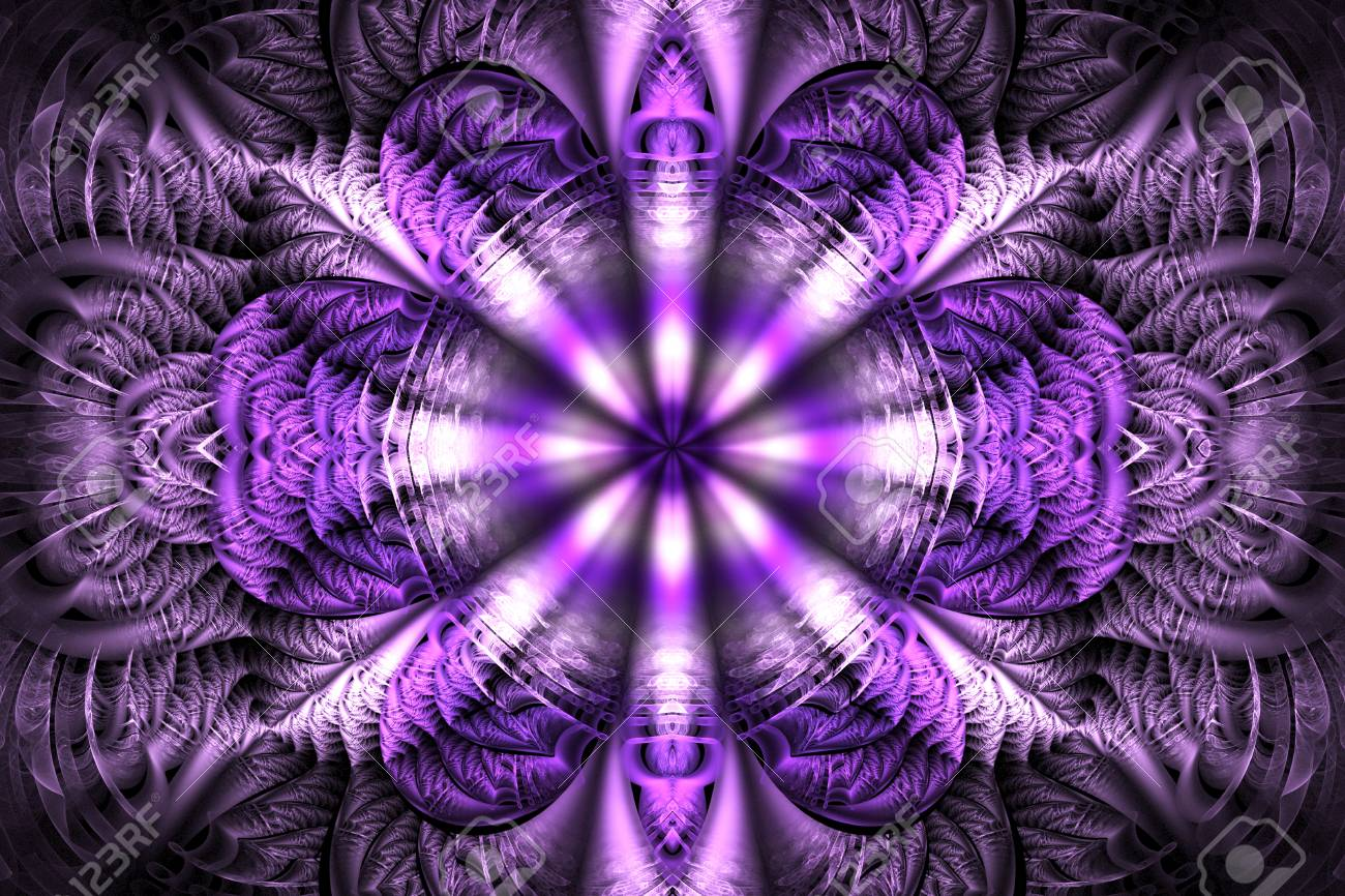 205af9822 Abstract mandala on black background. Intricate symmetrical pattern in pink  and purple colors. Fantasy
