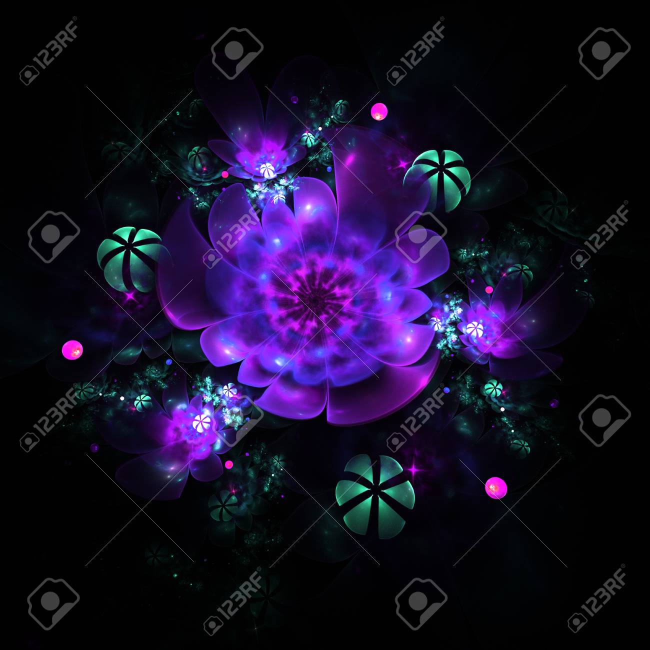 Abstract colorful pink purple green and blue flowers on black abstract colorful pink purple green and blue flowers on black background fantasy fractal mightylinksfo