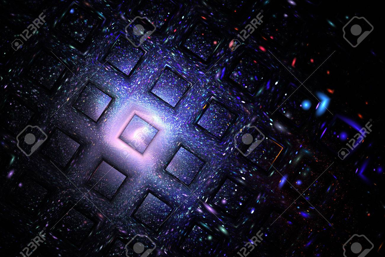 Abstract Geometric Texture With Blue Red And Violet Sparkles