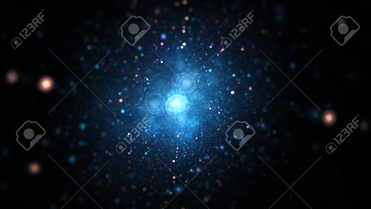 Abstract blurred blue and golden particles. Fantasy colorful holiday sparkle background. Digital fractal art. 3d - 151284869