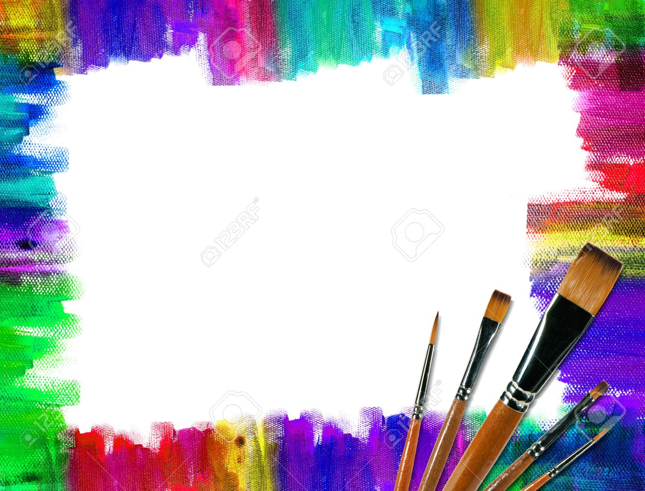 a color brush frame on canvas stock photo 9209986