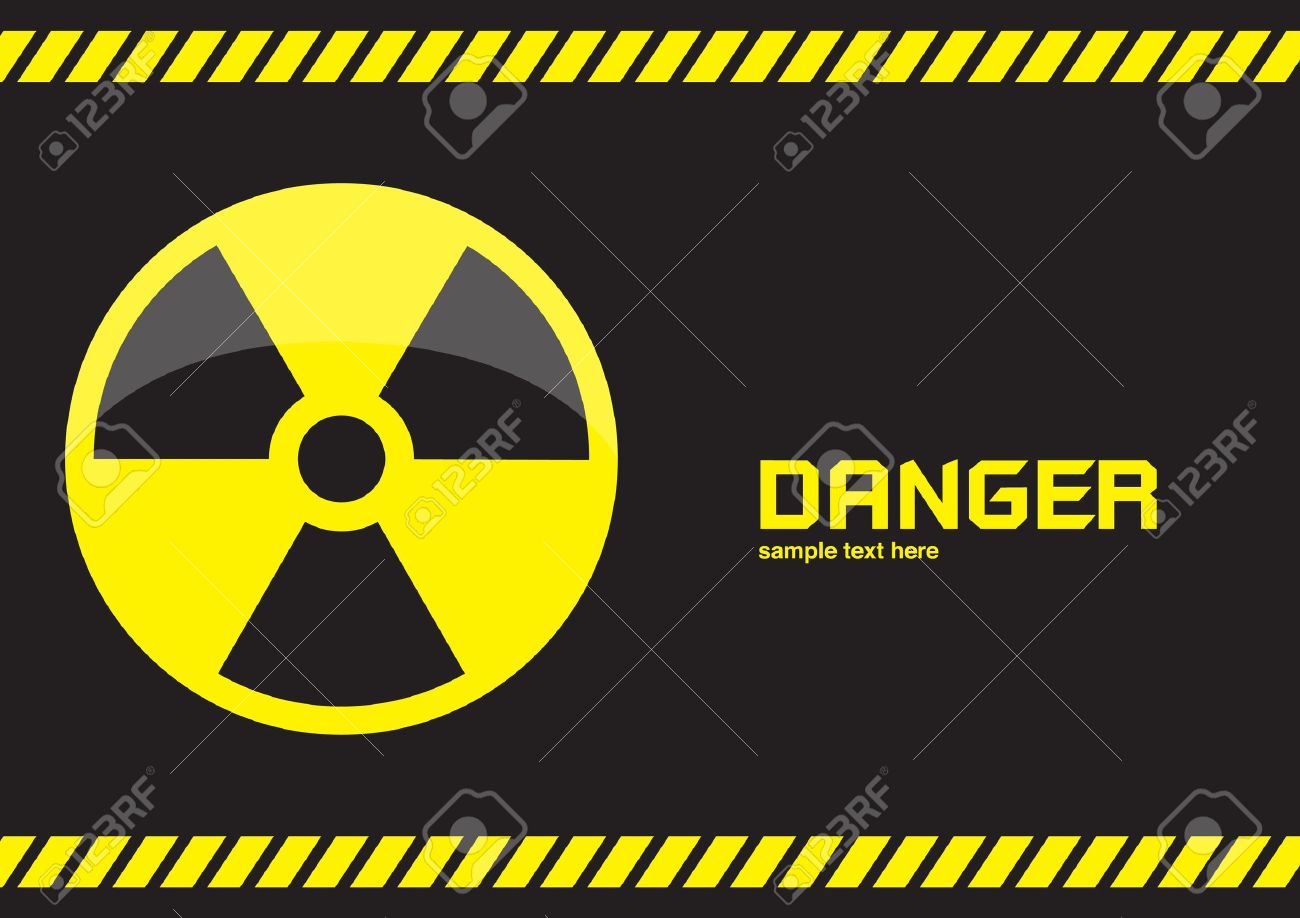 nuclear symbols warning on dark background Stock Photo - 10293957