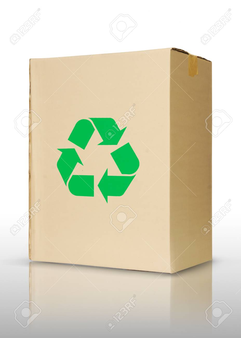 Cardboard box with recycling symbol, on a white background. Stock Photo - 10346515