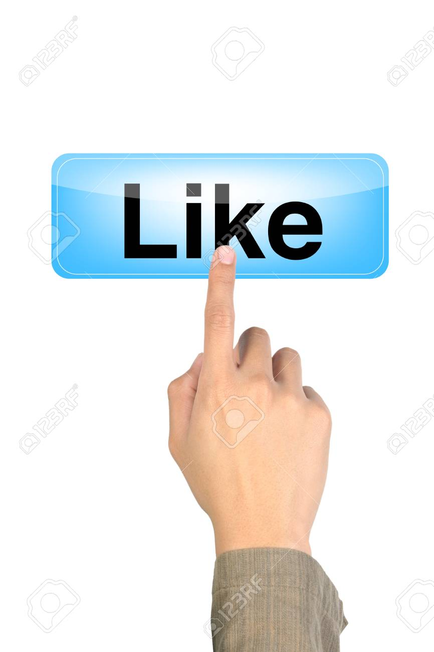 hand pushing the like blue button Stock Photo - 10612623