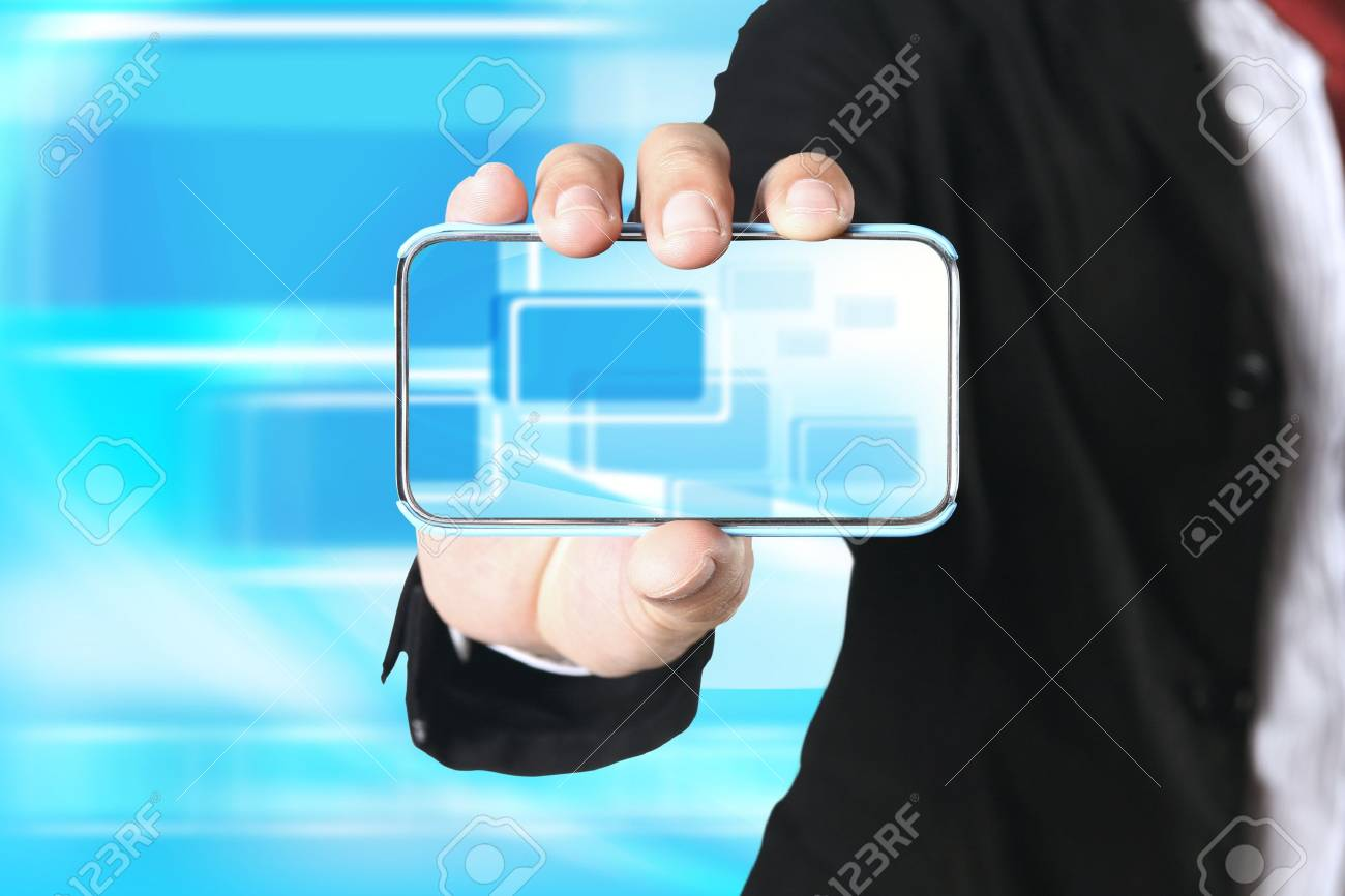 Businessman showing  touch phone on blue background Stock Photo - 10849835