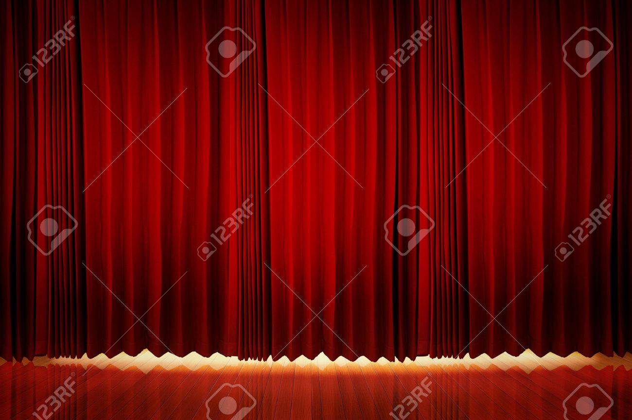 Theatrical curtain of red color Stock Photo - 11540372