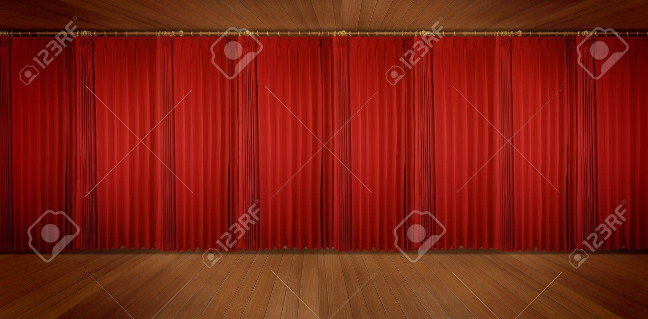panoramic Theatrical curtain of red color Stock Photo - 11540340