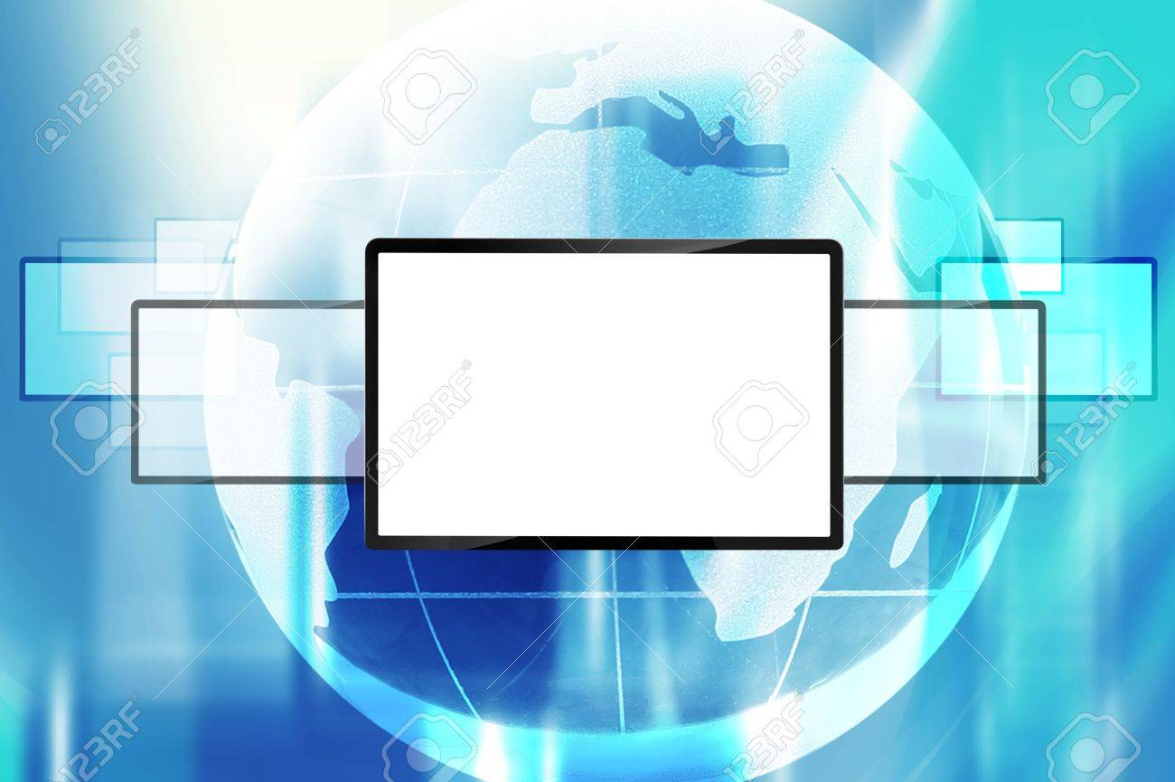 blank lcd screen with colorful globe Stock Photo - 11540408