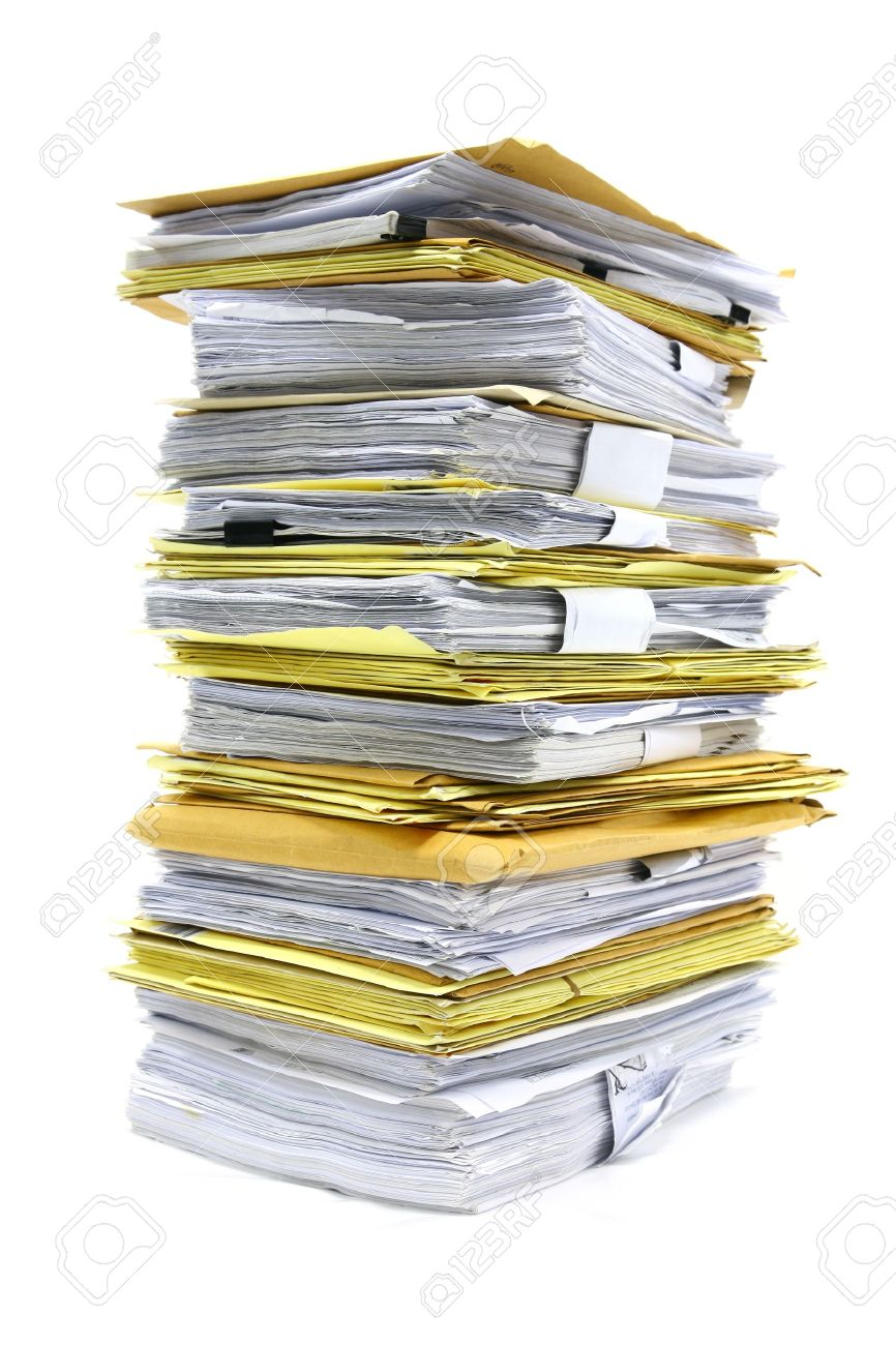 stack of papers isolated on white Stock Photo - 12577828