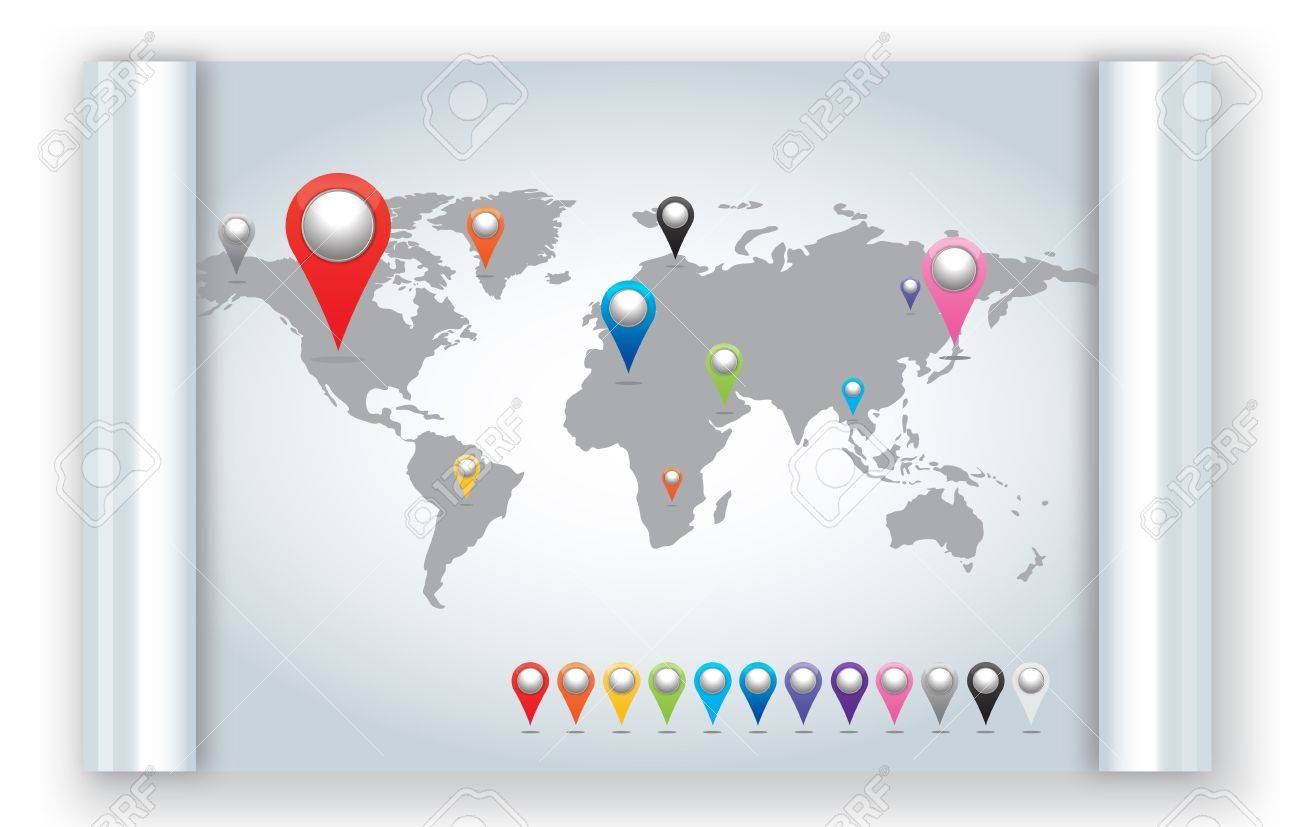 World map with set of Map Pins Pointer Icons. Stock Photo - 15287413